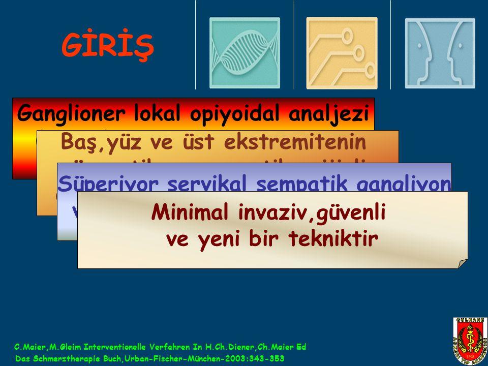 GİRİŞ Ganglioner lokal opiyoidal analjezi (GLOA)