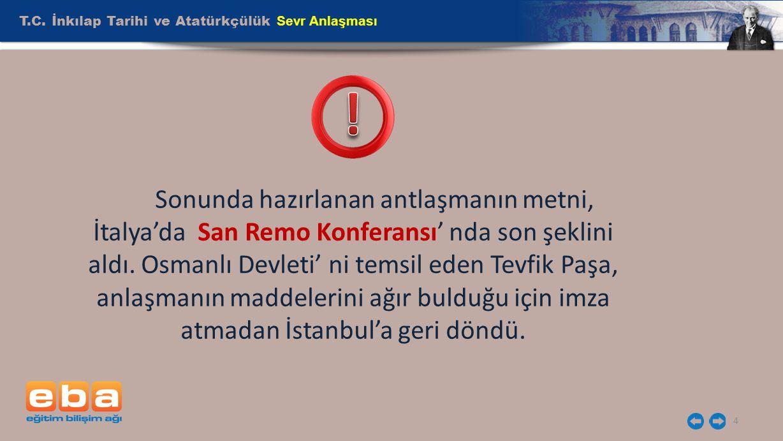 T.C. İnkılap Tarihi ve Atatürkçülük Sevr Anlaşması
