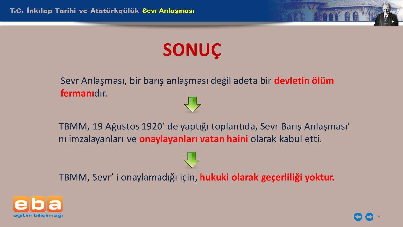 SONUÇ T.C. İnkılap Tarihi ve Atatürkçülük Sevr Anlaşması