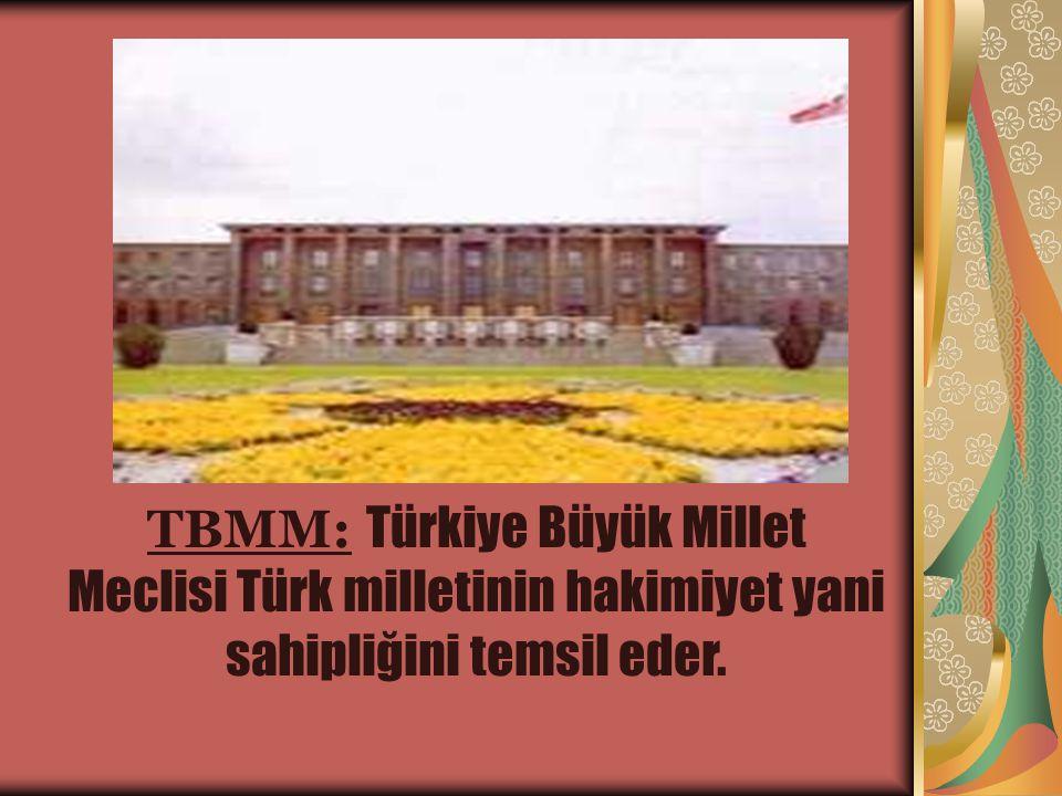 TBMM: Türkiye Büyük Millet Meclisi Türk milletinin hakimiyet yani sahipliğini temsil eder.