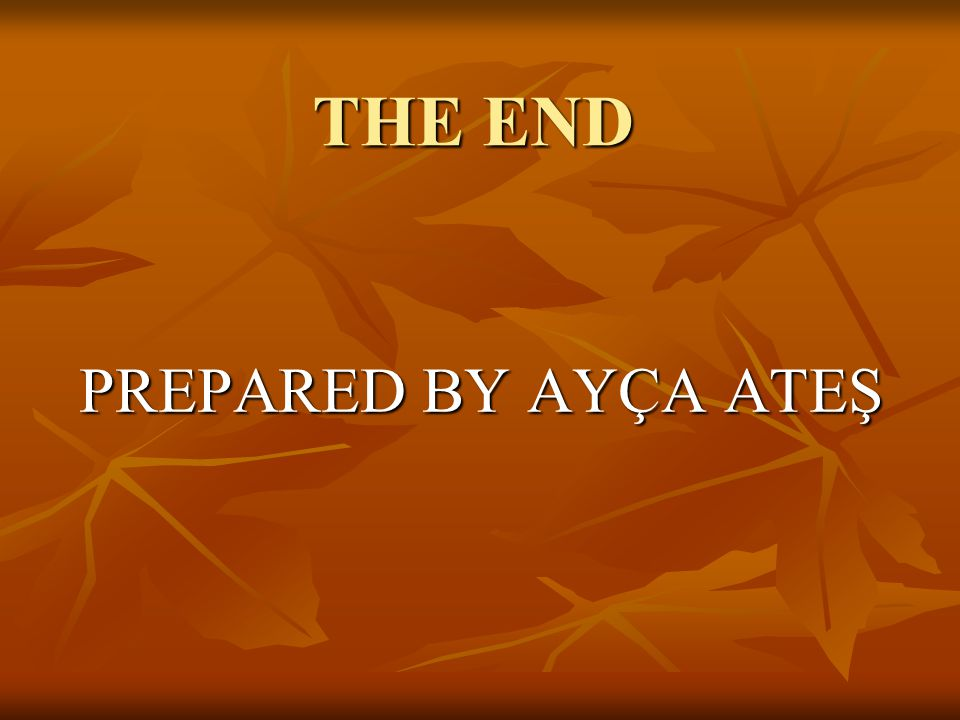 THE END PREPARED BY AYÇA ATEŞ