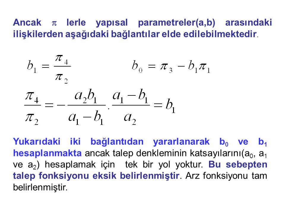 Ancak p lerle yapısal parametreler(a,b) arasındaki ilişkilerden aşağıdaki bağlantılar elde edilebilmektedir.