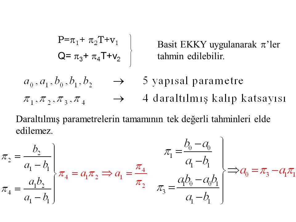 P=1+ 2T+v1 Basit EKKY uygulanarak 'ler tahmin edilebilir. Q= 3+ 4T+v2.