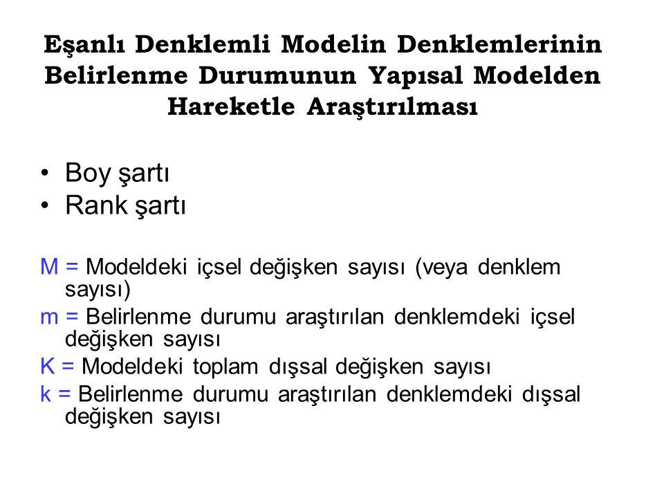 Eşanlı Denklemli Modelin Denklemlerinin Belirlenme Durumunun Yapısal Modelden Hareketle Araştırılması