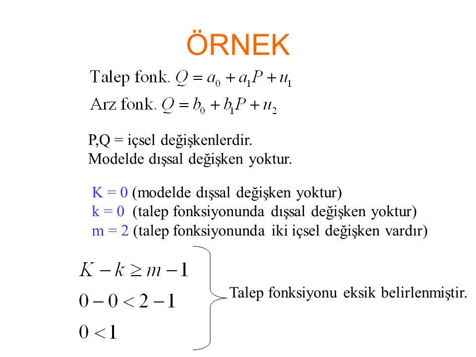 ÖRNEK P,Q = içsel değişkenlerdir. Modelde dışsal değişken yoktur.