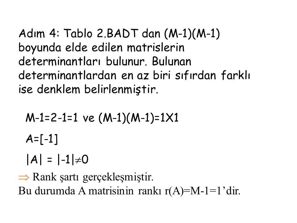Adım 4: Tablo 2.BADT dan (M-1)(M-1) boyunda elde edilen matrislerin determinantları bulunur. Bulunan determinantlardan en az biri sıfırdan farklı ise denklem belirlenmiştir.
