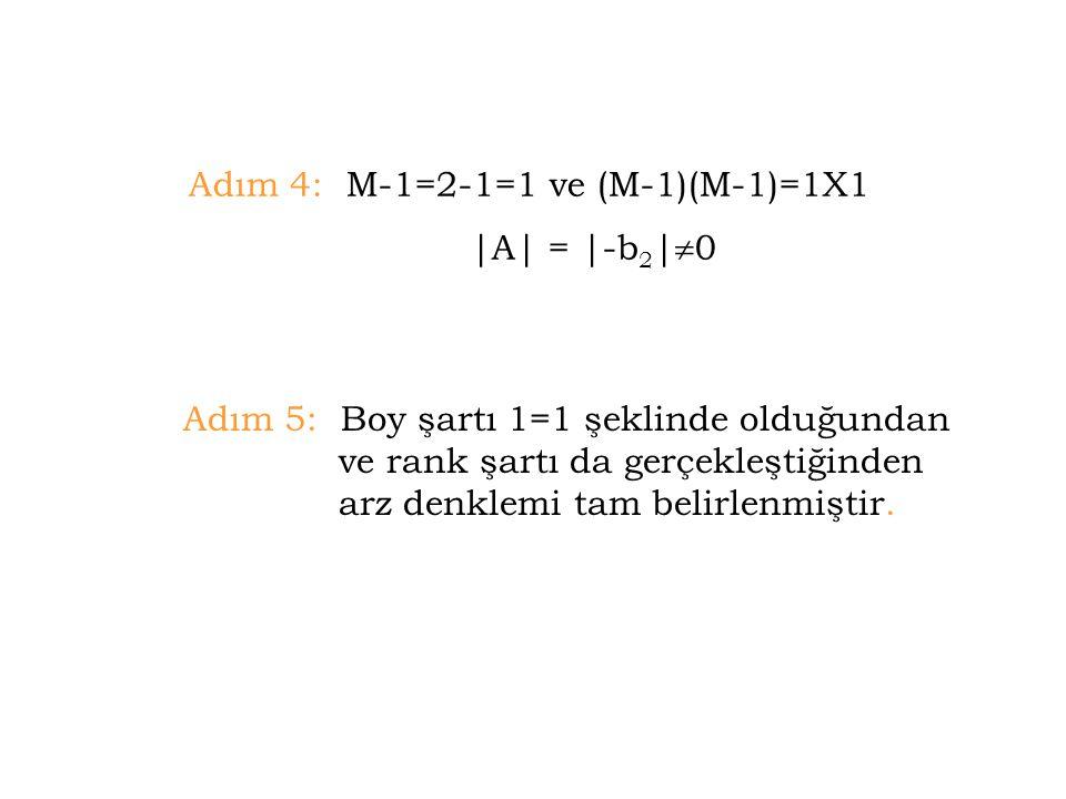Adım 4: M-1=2-1=1 ve (M-1)(M-1)=1X1