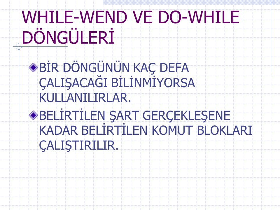 WHILE-WEND VE DO-WHILE DÖNGÜLERİ