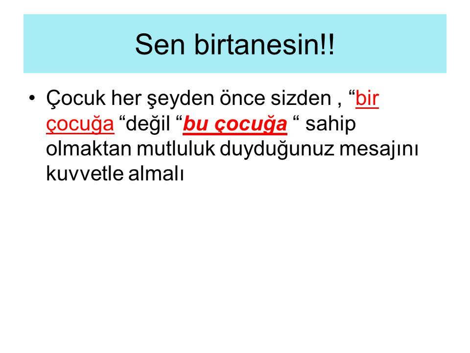 Sen birtanesin!.
