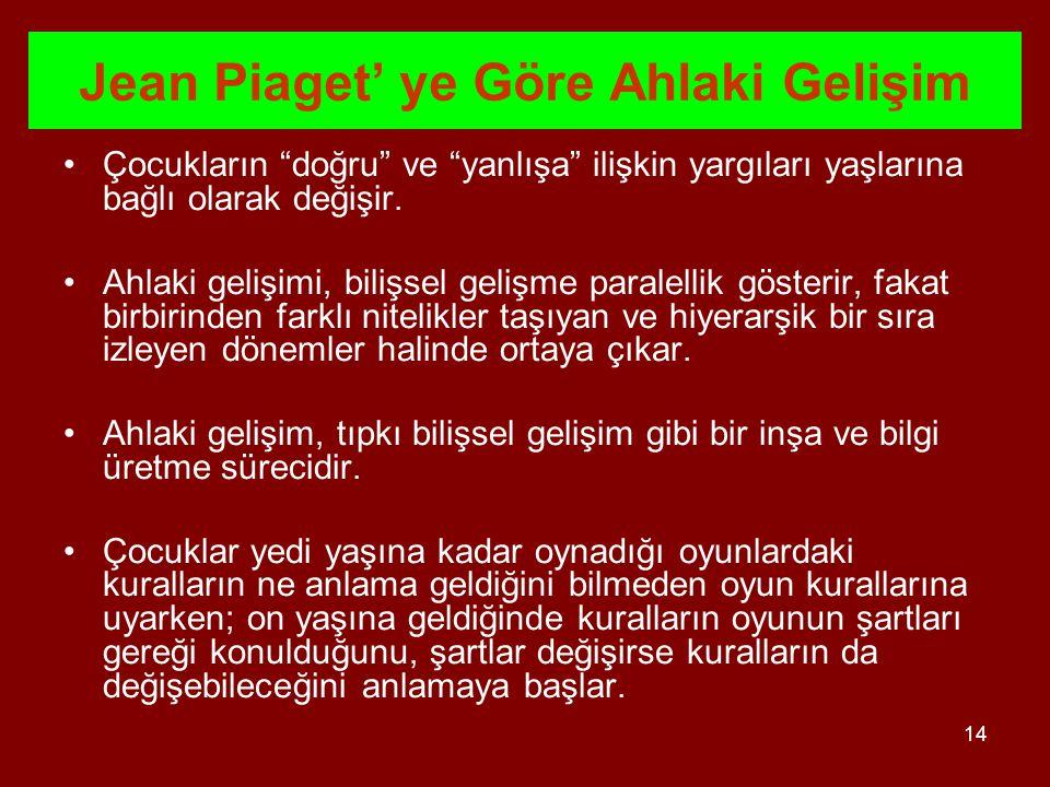 Jean Piaget' ye Göre Ahlaki Gelişim