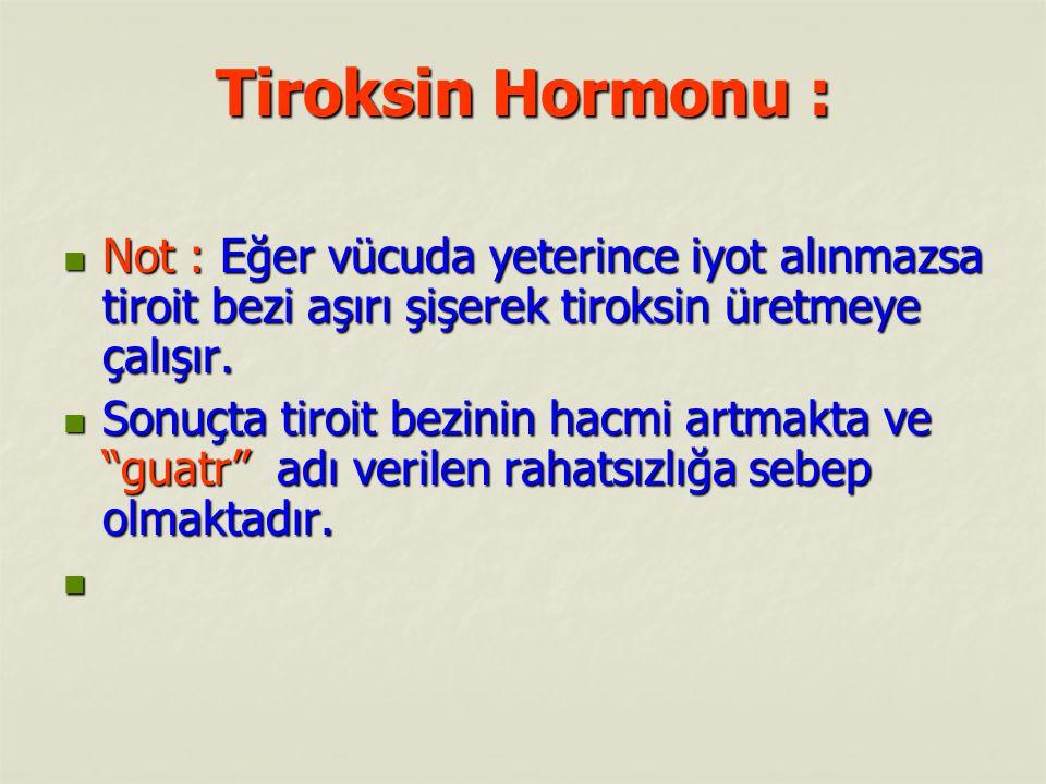 Tiroksin Hormonu : Not : Eğer vücuda yeterince iyot alınmazsa tiroit bezi aşırı şişerek tiroksin üretmeye çalışır.