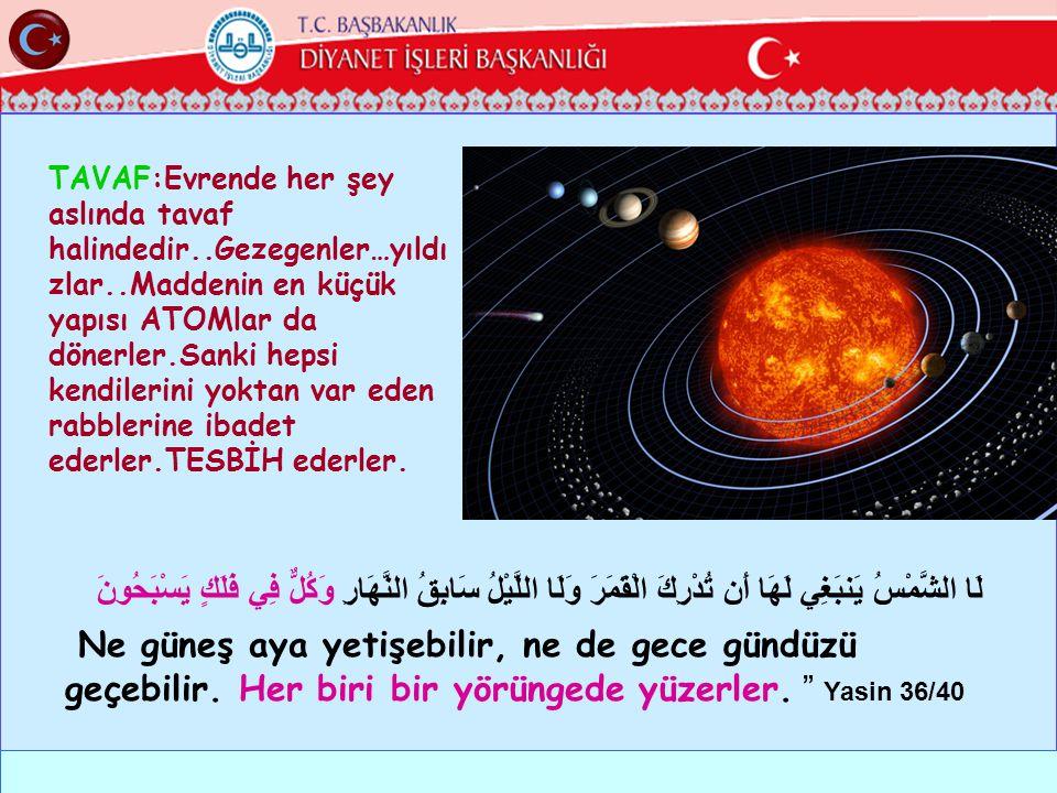 TAVAF:Evrende her şey aslında tavaf halindedir. Gezegenler…yıldızlar