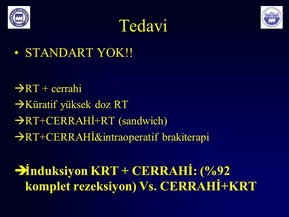 Tedavi STANDART YOK!! RT + cerrahi. Küratif yüksek doz RT. RT+CERRAHİ+RT (sandwich) RT+CERRAHİ&intraoperatif brakiterapi.
