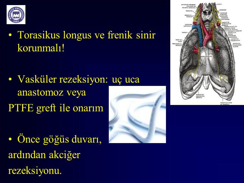 Torasikus longus ve frenik sinir korunmalı!