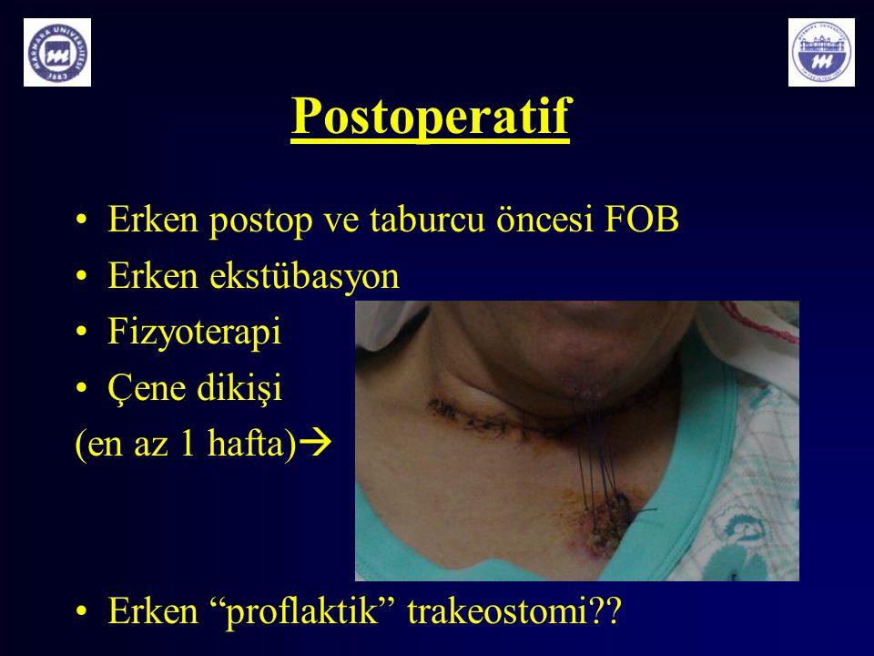 Postoperatif Erken postop ve taburcu öncesi FOB Erken ekstübasyon