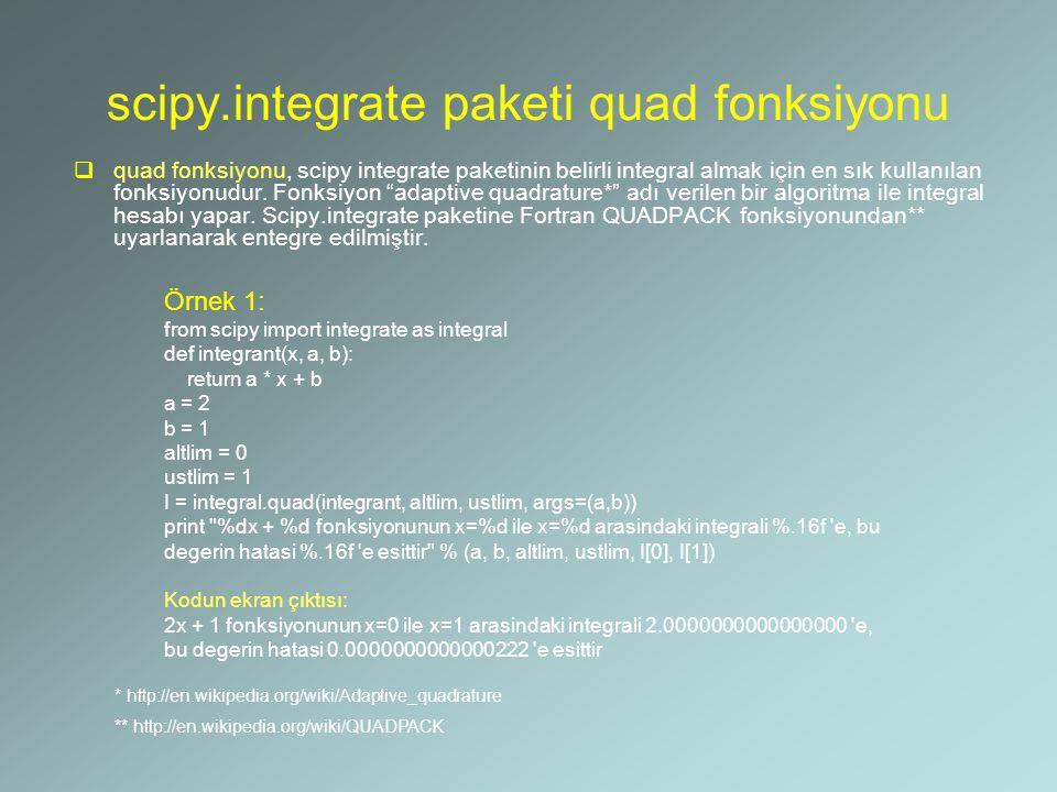 scipy.integrate paketi quad fonksiyonu