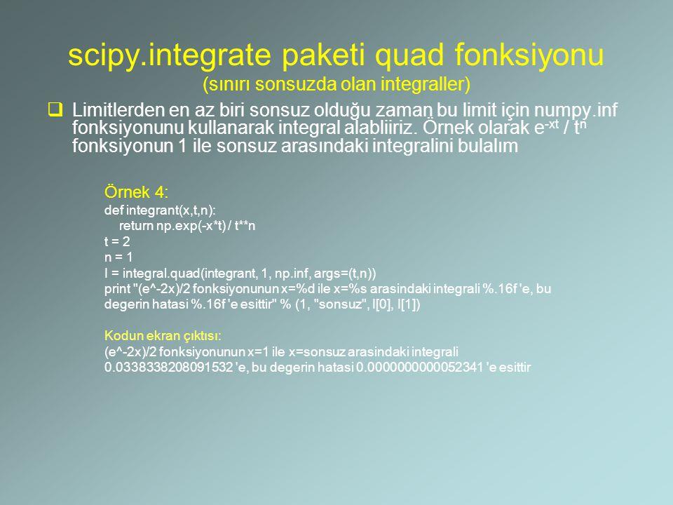 scipy.integrate paketi quad fonksiyonu (sınırı sonsuzda olan integraller)