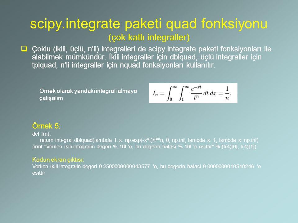 scipy.integrate paketi quad fonksiyonu (çok katlı integraller)