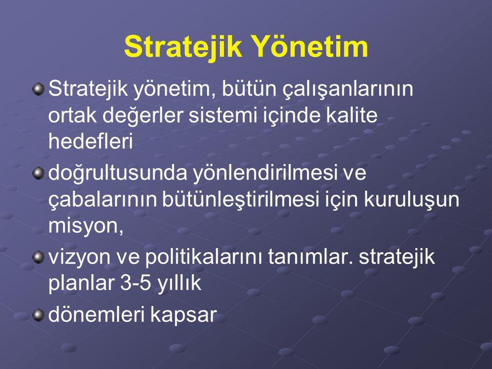Stratejik Yönetim Stratejik yönetim, bütün çalışanlarının ortak değerler sistemi içinde kalite hedefleri.
