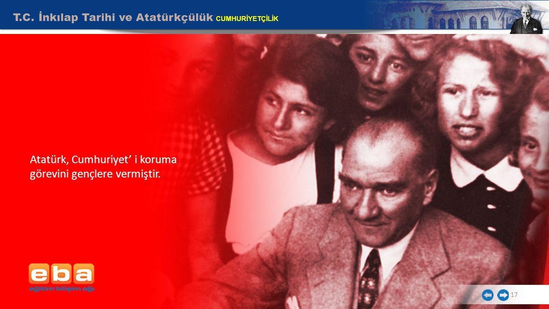 Atatürk, Cumhuriyet' i koruma görevini gençlere vermiştir.