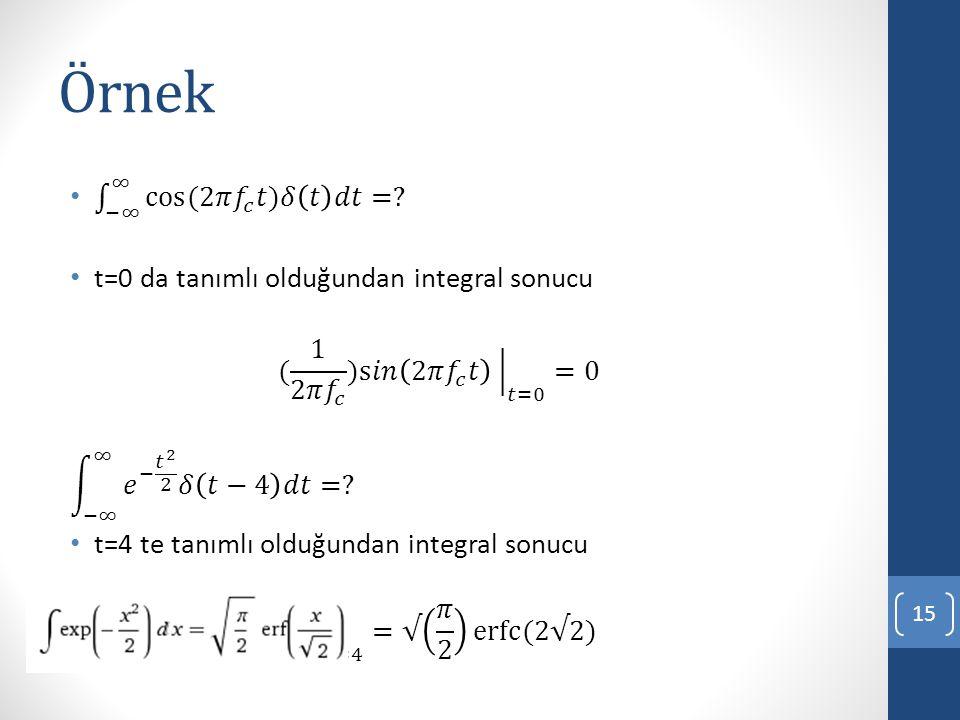 Örnek −∞ ∞ cos(2𝜋 𝑓 𝑐 𝑡)𝛿 𝑡 𝑑𝑡 =