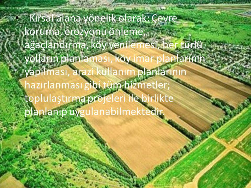 Kırsal alana yönelik olarak: Çevre koruma, erozyonu önleme, ağaçlandırma, köy yenilemesi, her türlü yolların planlaması, köy imar planlarının yapılması, arazi kullanım planlarının hazırlanması gibi tüm hizmetler; toplulaştırma projeleri ile birlikte planlanıp uygulanabilmektedir.