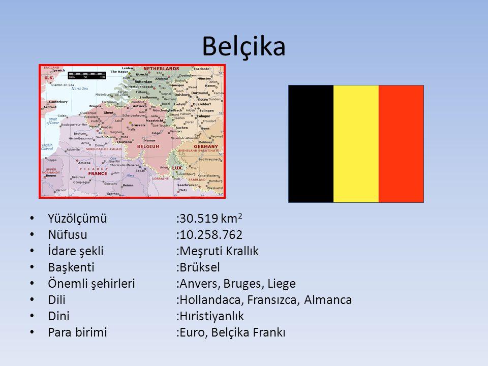 Belçika Yüzölçümü :30.519 km2 Nüfusu :10.258.762