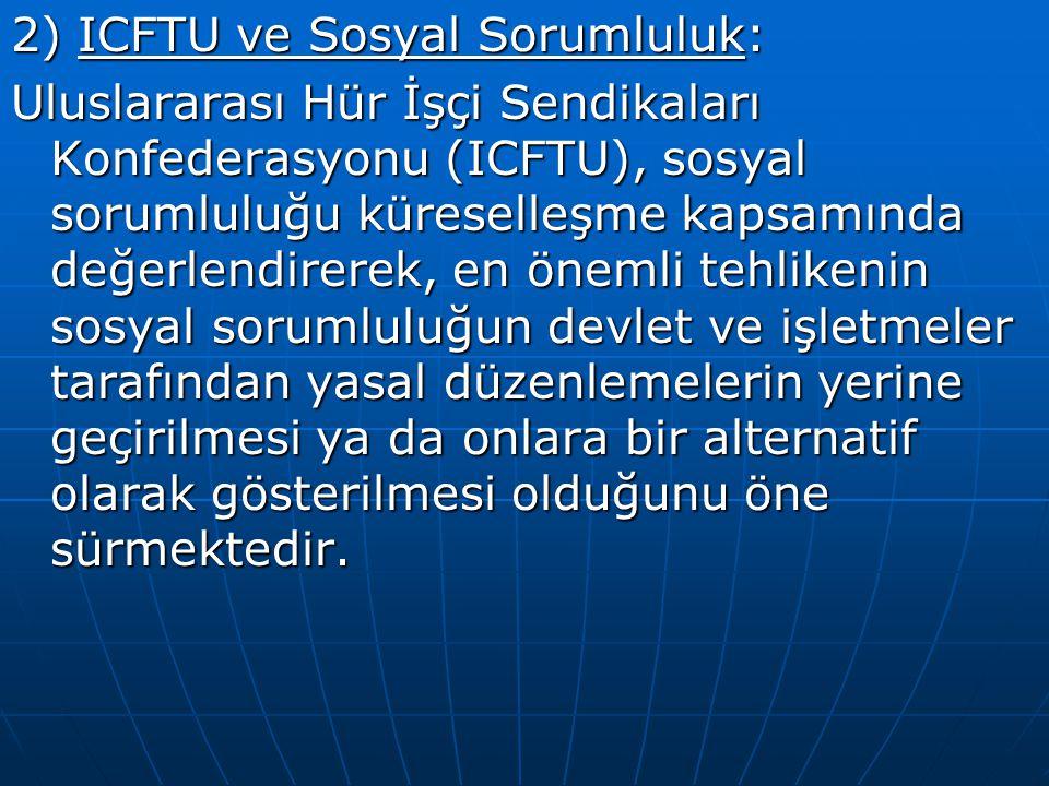 2) ICFTU ve Sosyal Sorumluluk: