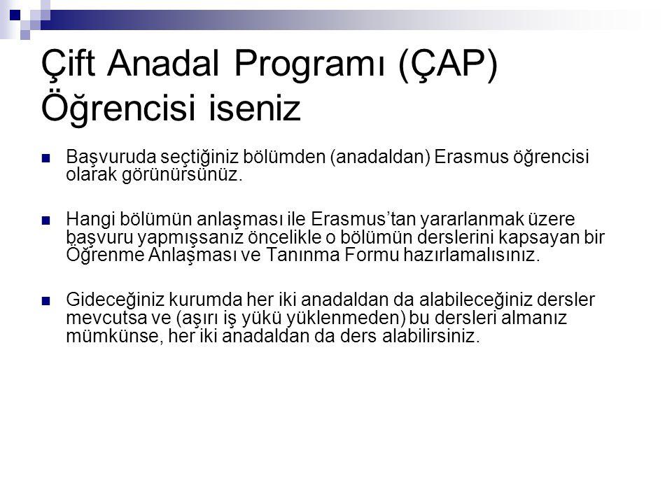 Çift Anadal Programı (ÇAP) Öğrencisi iseniz