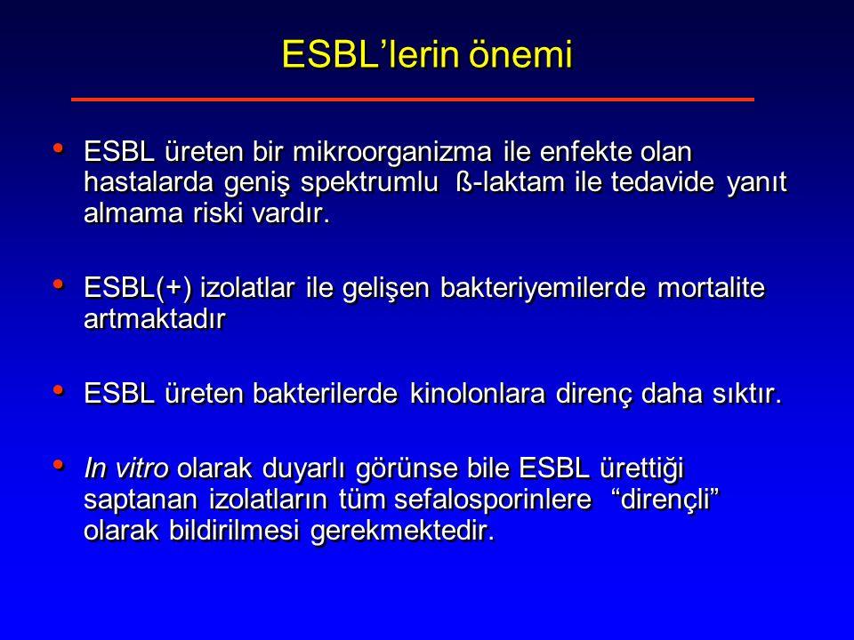 ESBL'lerin önemi ESBL üreten bir mikroorganizma ile enfekte olan hastalarda geniş spektrumlu ß-laktam ile tedavide yanıt almama riski vardır.