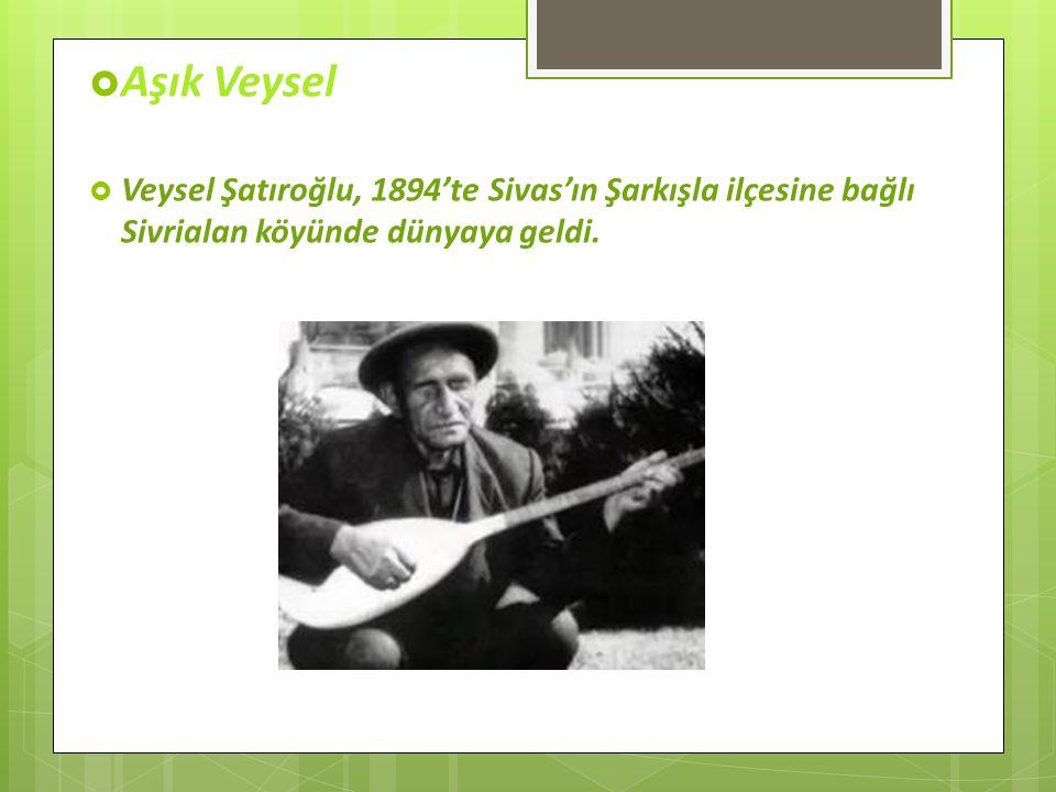 Aşık Veysel Veysel Şatıroğlu, 1894'te Sivas'ın Şarkışla ilçesine bağlı Sivrialan köyünde dünyaya geldi.