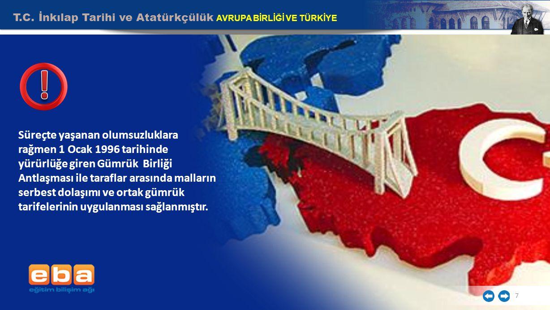 T.C. İnkılap Tarihi ve Atatürkçülük AVRUPA BİRLİĞİ VE TÜRKİYE