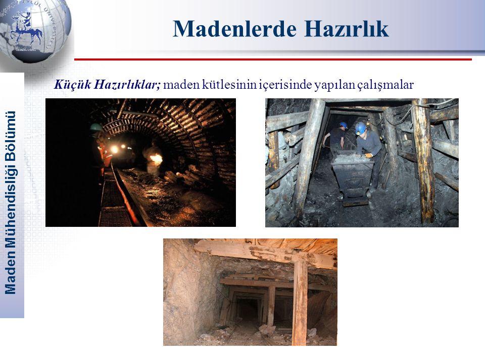 Madenlerde Hazırlık Küçük Hazırlıklar; maden kütlesinin içerisinde yapılan çalışmalar