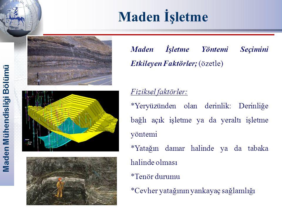 Maden İşletme Maden İşletme Yöntemi Seçimini Etkileyen Faktörler; (özetle) Fiziksel faktörler: