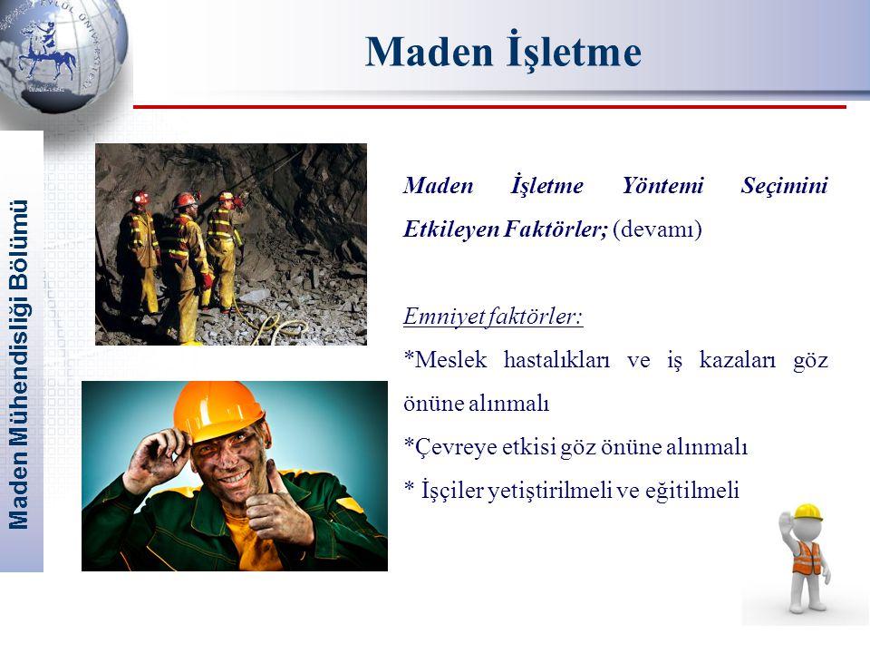Maden İşletme Maden İşletme Yöntemi Seçimini Etkileyen Faktörler; (devamı) Emniyet faktörler: