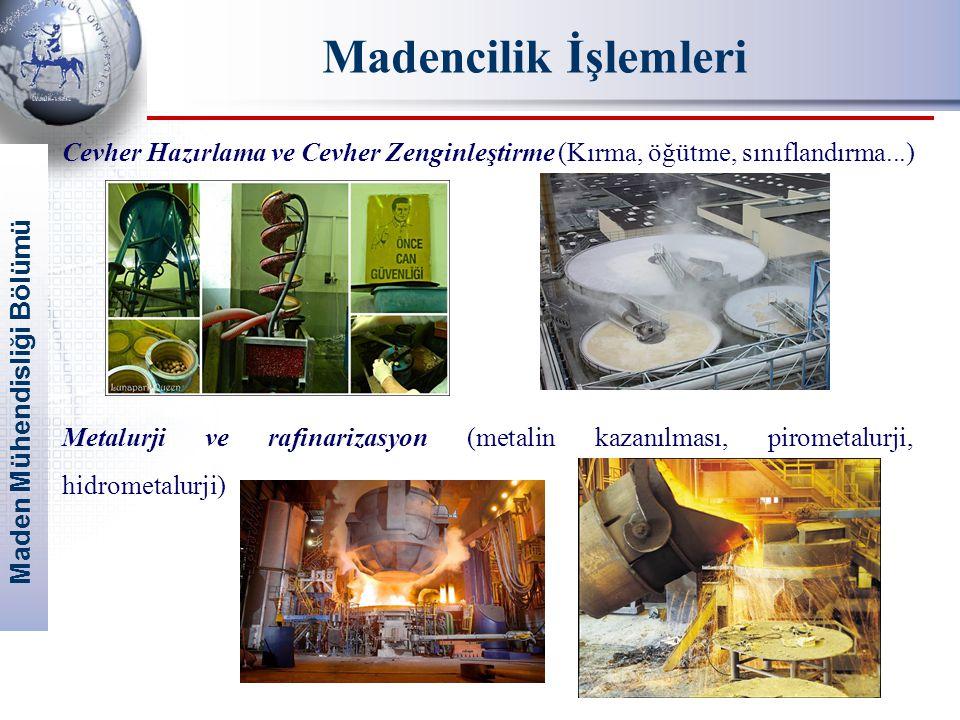 Madencilik İşlemleri Cevher Hazırlama ve Cevher Zenginleştirme (Kırma, öğütme, sınıflandırma...)