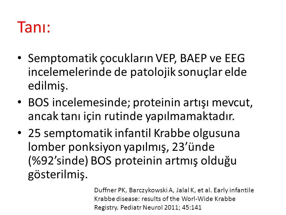 Tanı: Semptomatik çocukların VEP, BAEP ve EEG incelemelerinde de patolojik sonuçlar elde edilmiş.