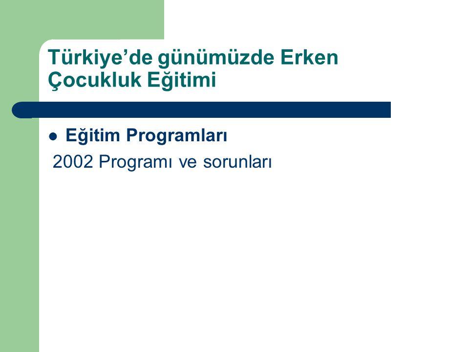 Türkiye'de günümüzde Erken Çocukluk Eğitimi