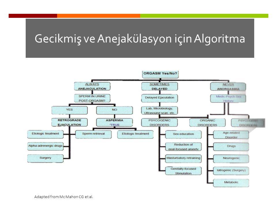 Gecikmiş ve Anejakülasyon için Algoritma