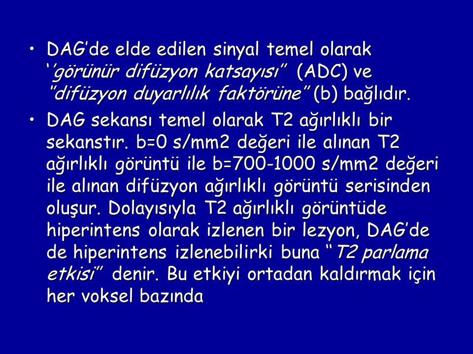 DAG'de elde edilen sinyal temel olarak ''görünür difüzyon katsayısı'' (ADC) ve ''difüzyon duyarlılık faktörüne'' (b) bağlıdır.