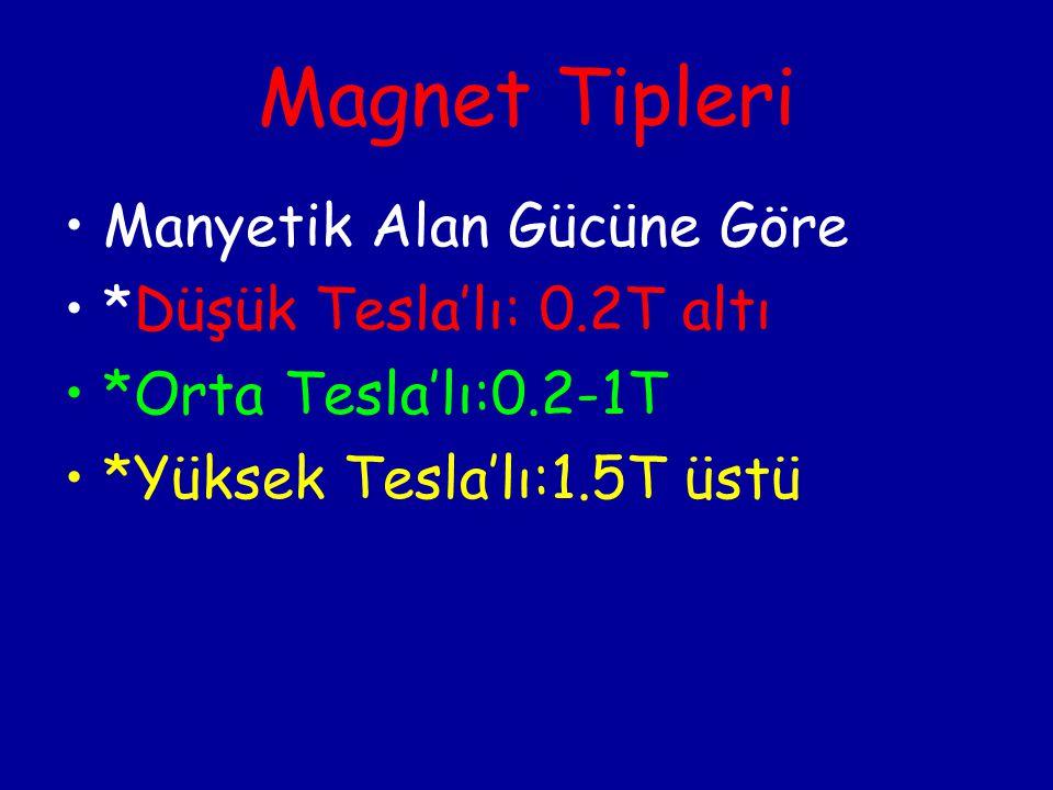 Magnet Tipleri Manyetik Alan Gücüne Göre *Düşük Tesla'lı: 0.2T altı