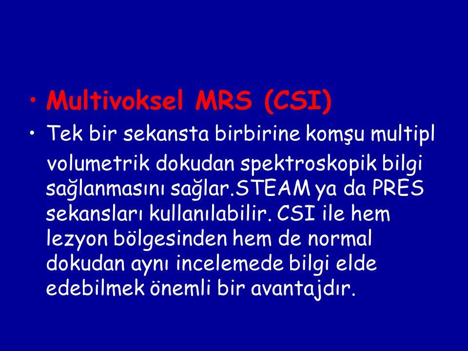 Multivoksel MRS (CSI) Tek bir sekansta birbirine komşu multipl