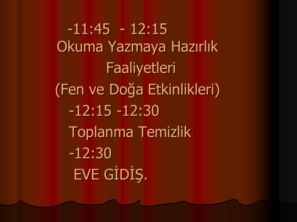 (Fen ve Doğa Etkinlikleri) -12:15 -12:30 Toplanma Temizlik -12:30