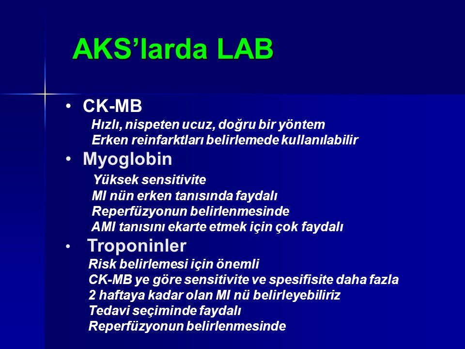 AKS'larda LAB CK-MB Myoglobin Yüksek sensitivite Troponinler