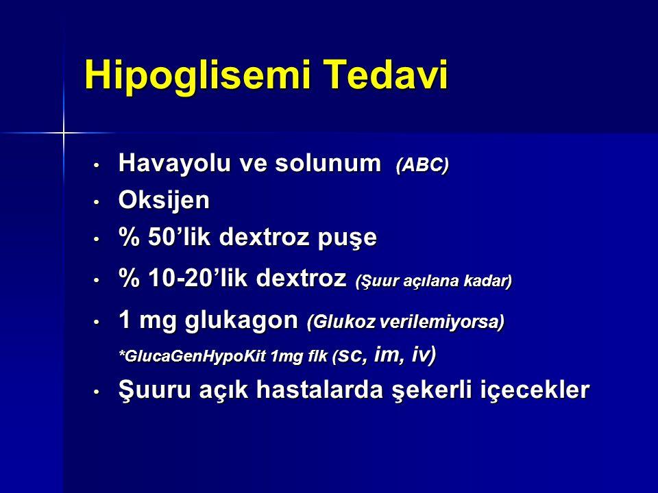 Hipoglisemi Tedavi Havayolu ve solunum (ABC) Oksijen