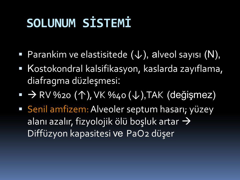 SOLUNUM SİSTEMİ Parankim ve elastisitede (↓), alveol sayısı (N),