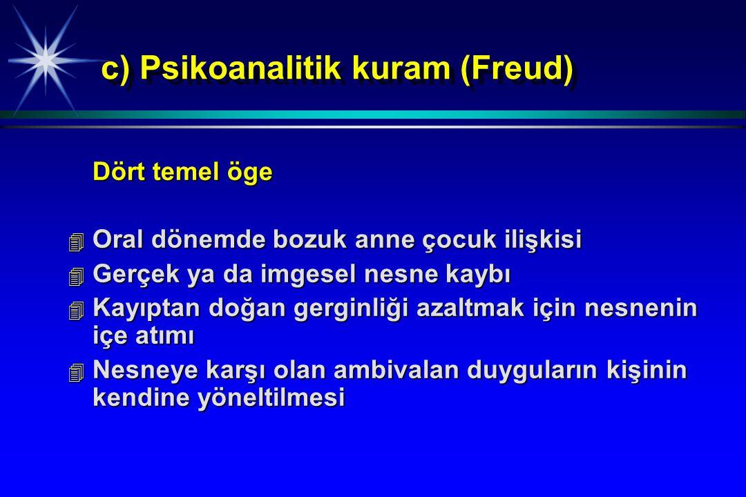 c) Psikoanalitik kuram (Freud)