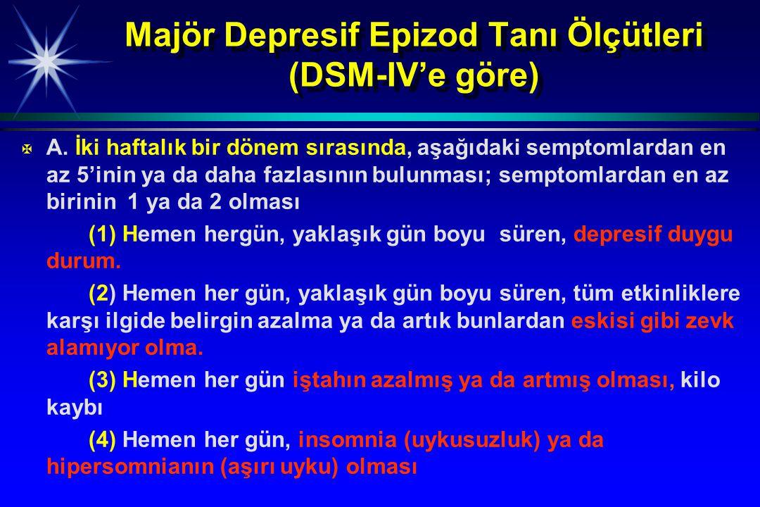 Majör Depresif Epizod Tanı Ölçütleri (DSM-IV'e göre)