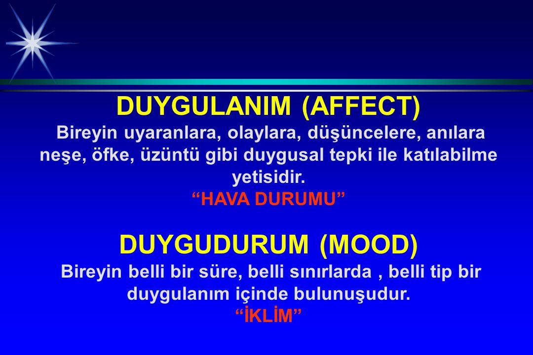 DUYGULANIM (AFFECT) DUYGUDURUM (MOOD)