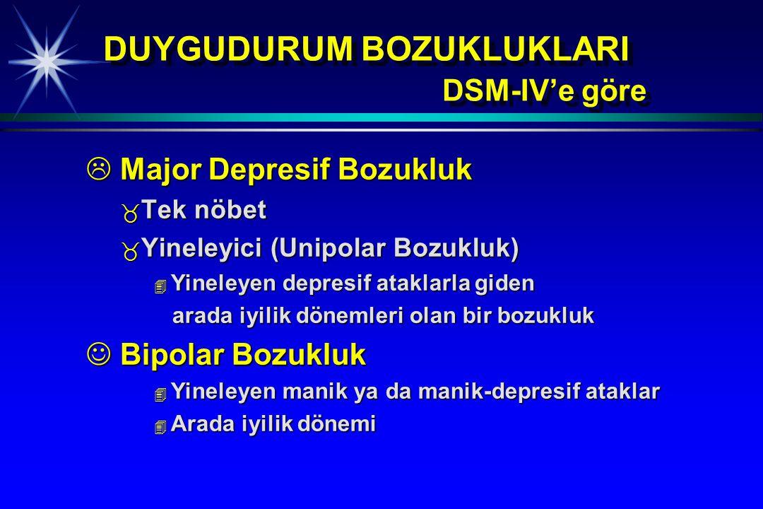 DUYGUDURUM BOZUKLUKLARI DSM-IV'e göre